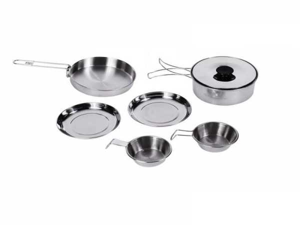 outdoor cookware set best of kingcamp 7pcs portable stainless steel cookware set for camping hiking includes pot frypan plates bowels carry bag dinner set in outdoor tablewares of outdoor co 1